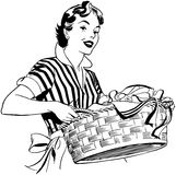 Lady With Laundry Basket Stock Images