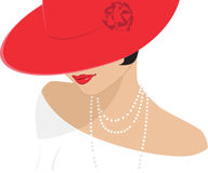 Lady in a red hat Royalty Free Stock Photo
