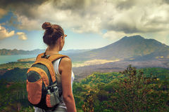 Lady tourist with backpack Royalty Free Stock Photography
