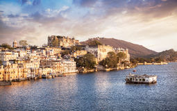 Lake Pichola and City Palace in India Royalty Free Stock Photo
