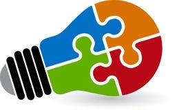 Lamp puzzle logo Stock Photography