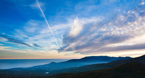 Landscape nature background, clouds in evening sky Stock Photos
