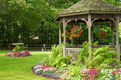 Landscaping gazebo in park Stock Image