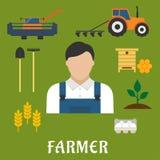 Landwirtberuf und flache Ikonen der Landwirtschaft Lizenzfreie Stockbilder