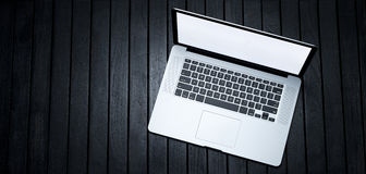 Laptop Computer Banner Black Background Stock Image