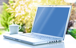 Laptop-Computer und Kaffee im Garten Lizenzfreie Stockfotografie