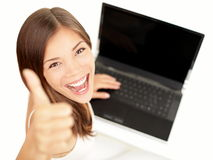 Laptop woman happy Royalty Free Stock Photography