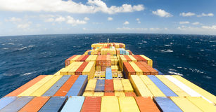 Large container vessel ship and the horizon Royalty Free Stock Image