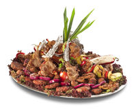 A large platter with plenty of meat and vegetables Stock Photography