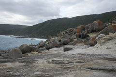 Large rocks in Blowholes sight in Torndirrup National Park near Albany Royalty Free Stock Images