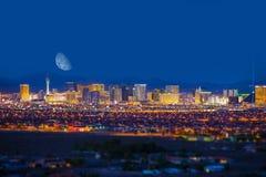 Las Vegas Strip and Moon Royalty Free Stock Photos