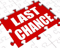 Last Chance Puzzle Shows Final Opportunity Or Act Now Royalty Free Stock Image