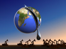 Last drop oil at Earth. Conceptual business - ecology illustration Stock Photo