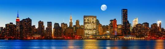 Late evening New York City skyline panorama Stock Images