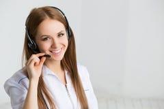 Lavoratore di servizio di assistenza al cliente della donna, operatore di call center Immagini Stock Libere da Diritti