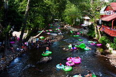 Lazy river tubing in Helen, GA Royalty Free Stock Image