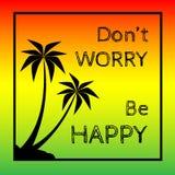 Le fond de reggae avec les pulms noirs silhouettent et citent Photo libre de droits