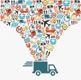 Le icone di trasporto hanno fissato il concetto veloce del camion di consegna malato Immagine Stock