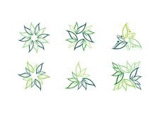 Leaf,plant,logo,ecology,green,leaves,nature symbol icon set of vector designs Royalty Free Stock Images