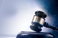 Legal concept gavel computer screen Royalty Free Stock Image