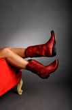 Legs Wearing Red Boots Stock Images