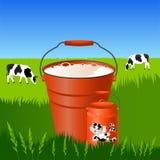 Leite fresco em uma cubeta e em umas latas Imagem de Stock