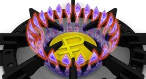 Les coûts d'approvisionnement en gaz Le concept avec la devise russe Photo libre de droits