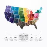 Les Etats-Unis tracent la bannière géométrique de concept de calibre d'Infographic. Photographie stock