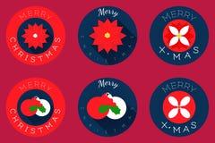 Les icônes plates de Noël conçoivent, les sphères et la poinsettia Photos stock