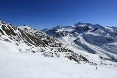 Les Verdons, Winter landscape in the ski resort of La Plagne, France Royalty Free Stock Images