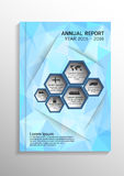 Light blue low polygonal background. Cover design template layout in A4 size for annual report, brochure, flyer,  illustrati Stock Images