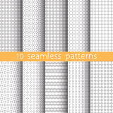 10 Light grey seamless patterns for universal background. Grey and white colors. Royalty Free Stock Photography