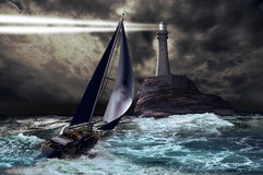 Lighthouse and sailboat Stock Photography