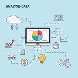 Ligne plate concept de construction pour des données d'analyse, utilisé pour des bannières de Web, images de héros, matériaux imp Photographie stock