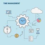 Ligne plate concept de construction pour la gestion du temps, utilisé pour des bannières de Web, images de héros, matériaux impri Photo stock