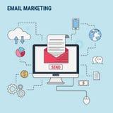 Ligne plate concept de construction pour le marketing d'email, utilisé pour des bannières de Web, images de héros, matériaux impr Images libres de droits