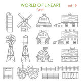 Lineart architecture farm agriculture building and objects Stock Photo