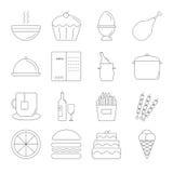 Linha grupo do alimento do ícone Imagem de Stock Royalty Free