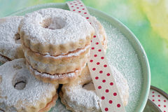 Linzer cookies on plate Stock Images