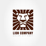 Lion head logo template, symbol of strength, power, guard and se Royalty Free Stock Image