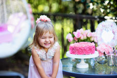 Little girl celebrate Happy Birthday Party with rose outdoor Royalty Free Stock Photography