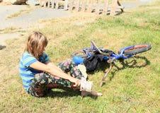 Little girl in wet pants Stock Image