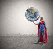 Little superhero save the world Stock Photo