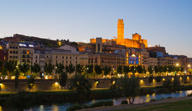 Lleida cathedral and city with evening sky Stock Images