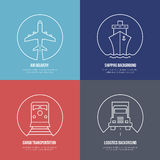 Logistics line icons. Airmail cargo transportation Royalty Free Stock Photos