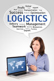 Logistics manager is showing world map on a laptop screen Royalty Free Stock Photography