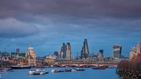London panorama at sunset stock video footage