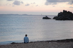 Loneliness on the beach Royalty Free Stock Images
