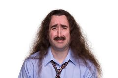 Long Haired Man Crying1 Royalty Free Stock Photography