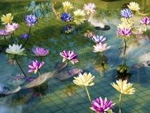 Loto variopinto di plastica della decorazione in stagno, Taipei Immagini Stock Libere da Diritti